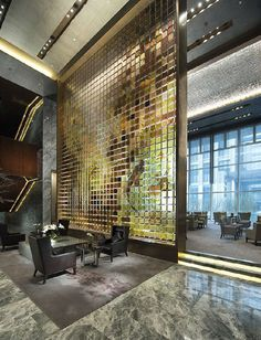 The Conrad Hotel lobby, Beijing Design Hotel, H Design, Lobby Design, Wall Design, Lobby Interior, Decor Interior Design, Interior Architecture, Luxury Interior, Commercial Design