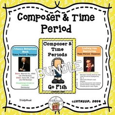 """This is the bundled version of both Composer and Time Period """"Go Fish"""" games (clip art AND portrait) styles. The files are in PDF form.What you get in each version of the """"Go Fish"""" Game:4 sets  of cards for 12 Composers from four of the time periods in music history (Baroque, Classical, Romantic and Modern) so that's a total of 96 cards that each measure approximately 3"""" x 4.5"""" when cut out!Each composer in the series includes four cards about them.Card 1 in the series includes: birth and…"""