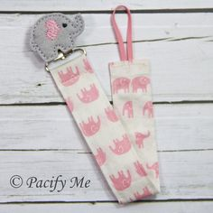 Pink Elephants Fabric Pacifier Clip -- Universal -- Soothie - Elephant Felt Embellishment on Etsy, $8.00