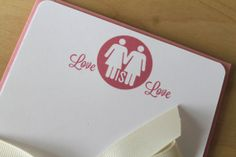 """Spread the love with words with the """"Love is Love"""" stationary set.  10 Notecards + envelopes only $14.00  Visit the shop @ https://www.etsy.com/shop/MADdesignstudio?ref=l2-shopheader-name"""
