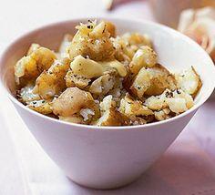 Crushed olive oil potatoes
