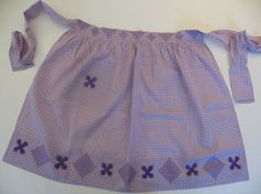 Vintage Apron 50s Handmade Apron Cross Stitch by CatBazaar on Etsy