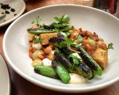 Charred Snap Peas w/chorizo and chick peas at Central Kitchen