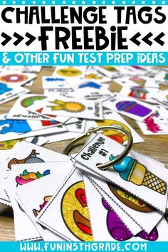 Using pogs and other engaging activities will help you and your students enjoy the test prep season so much more! These tips will help make test prep fun! When the est finally comes, the students will be less overwhelmed and more confident in their abilities. Review doesn't have to be boring practice of worksheets. FREE challenge tags included!