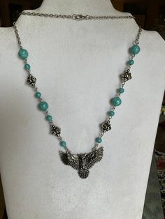 Owl Turquoise Silver Bead Bib Adjustable Necklace, Boho, Owl, Bird Lovers Gift Steampunk Necklace, Beaded Necklace, Jewelry Shop, Handmade Jewelry, Dragonfly Insect, Fashion Shops, I Love Bees, Owl Bird, Lovers Gift