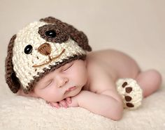 Baby Boy Hat PUPPY LUV Newborn Baby Boy Crochet Doggy Hat and Paws Booties Dog Hat Slippers