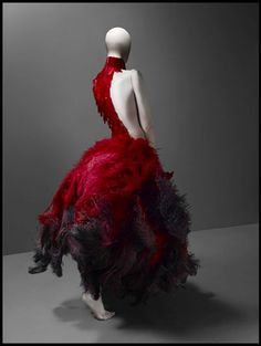 Alexander McQueen - Unique ombre feather dress.