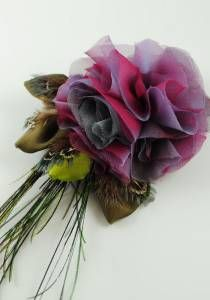 Ruby Blue Flower Clip--Style # 1126. silk, peacock & pheasant feather