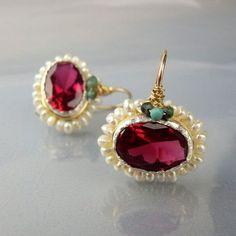 Pink CZ Earrings Gold Filled Jewelry Oval Earrings by yifatbareket Peridot Earrings, Bead Earrings, Gemstone Earrings, Purple Earrings, Pink Jewelry, Gold Filled Jewelry, Beaded Jewelry, Handmade Silver, Handmade Jewelry