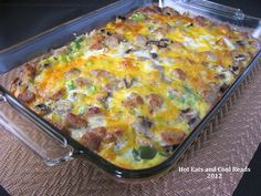 Hashbrown and Egg Breakfast Bake Recipe ~~~ This egg bake is oh, so, good! The eggs turn out nice and fluffy and I really like the combo of veggies. It's so simple but has such awesome flavor. It also feeds alot of people, so if there's just a few of you, try cutting the recipe in half. This is one dish you could make every weekend and everyone would be happy!