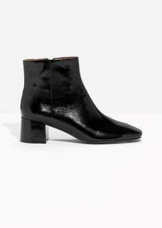 & Other Stories image 1 of Glossy Leather Ankle Boots in Black