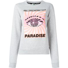 Kenzo Eye x Paradise sweatshirt ($310) ❤ liked on Polyvore featuring tops, hoodies, sweatshirts, grey, embroidered top, kenzo sweatshirt, grey sweatshirt, gray top and grey top