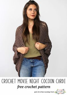 Crochet this easy movie night cocoon cuddler cardigan sweater from Two of Wands from my crochet projects to make for craft fairs free pattern roundup!