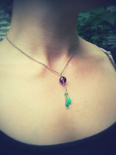 """Mermaid"" necklace. amethyst, apatite, peridot, chalcedony, sterling silver. *sold*"