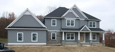 Ideas for exterior house colors combinations vinyl siding Grey Siding House, Blue Siding, House Paint Exterior, Exterior Siding, Gray Exterior, Exterior Houses, House Roof, Mastic Vinyl Siding, Vinyl Siding Colors
