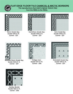 Clay Squared to Infinity represents vintage tile for walls and floors. Mid Century, Arts & Crafts, and Victorian architectural tiles. Hex Tile, Penny Tile, Floor Patterns, Tile Patterns, Bathroom Floor Tiles, Tile Floor, Vintage Tile, Upstairs Bathrooms, Style Tile