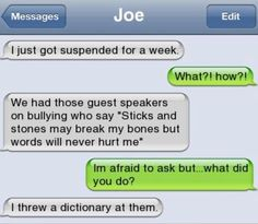 Funny text - I got suspended for a week