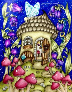 Fairy miracles by Klara Markova Colored by Julie's passion for coloring Coloring Book Art, Adult Coloring Pages, Fairy Sketch, Colored Pencil Techniques, Markova, Coloring Tutorial, Up Book, House Drawing, Dream Art