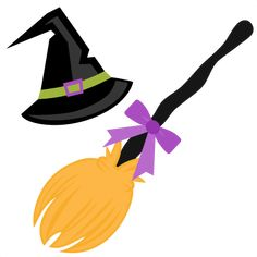 Witch Hat and Broom SVG scrapbook cut file cute clipart files for silhouette cricut pazzles free svgs free svg cuts cute cut files
