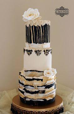 Elegant Torn Paper Wedding Cake
