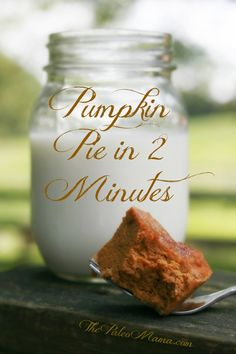 Pumpkin Pie in 2 Minutes Flat! Pumpkin pie with crust - easy, delicious, nourishing, and less than 6 grams net carb per serving! From The Paleo Mama Low Carb Sweets, Paleo Dessert, Low Carb Desserts, Healthy Sweets, Gluten Free Desserts, Low Carb Recipes, Real Food Recipes, Healthy Recipes, Paleo Pumpkin Pie