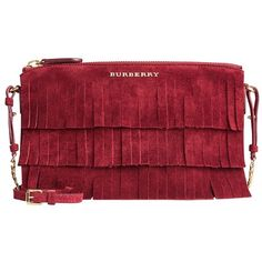 Burberry Suede Clutch Bag in Tiered Fringing (100715 ALL) ❤ liked on Polyvore featuring bags, handbags, clutches, suede clutches, suede fringe handbag, red purse, fringe clutches and burberry purses