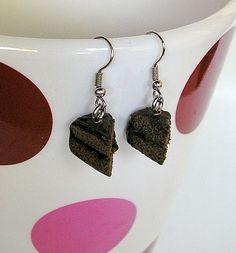 Double Chocolate Cake Slice Earrings $23.50