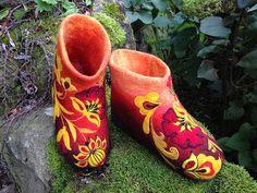 Обувь ручной работы. Ярмарка Мастеров - ручная работа Тапочки «Золотые маки» Хохлома. Handmade.