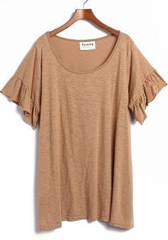 Khaki Round Neck Lotus Sleeve Cotton T-shirt