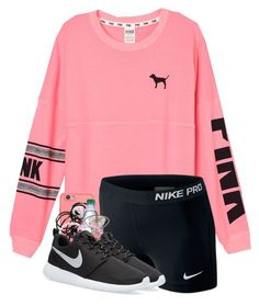 """Going on a hike"" by strawberry-styles ❤ liked on Polyvore featuring Victoria's Secret PINK, LifeProof, NIKE and Monki"