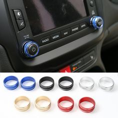 New Style Aluminium Car CD Volume Tune Knob Button Ring for Jeep Renegade Strength+/Smart 2015 up 5 Colors