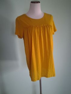 NEW J.CREW YELLOW MUSTARD 100% COTTON PLEATED SHORT SLEEVE TUNIC TOP M #JCrew #KnitTop #Casual