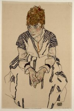 EGON SCHIELE. Picture of the Artist's Sister-in-Law, Adele Harms, 1917. Black chalk, brush, bodycolours, on Japan paper. ©Albertina, ViennaALBERTINA Museum Wien - Art Around 1900