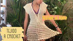 Vestido Laura -a crochet- Bikini Crochet, Beach Crochet, Crochet Tunic, Free Crochet, Crochet Top, Short Skirts, Short Sleeve Dresses, Moda Boho, Crochet Woman