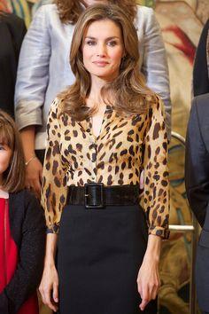 Princess Letizia - leopard blouse with black skirt