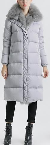 Fox Fur Trimmed Paneled Puffer Coat, Grey