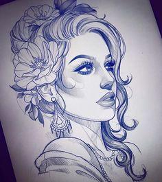 66 new ideas for tattoo girl face sketch pencil drawings Hai Tattoos, Kunst Tattoos, Body Art Tattoos, Art Drawings Sketches, Tattoo Sketches, Tattoo Drawings, Pencil Drawings, Unique Drawings, Tattoo Crane