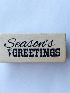 New- For Rubber Stamping and Handmade Cards Wood Mounted Rubber Stamp-- Season's Greetings #4 by YourScrapbookingShop on Etsy