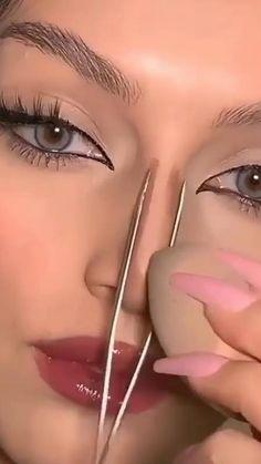 Nose Makeup, Contour Makeup, Face Makeup Tips, Makeup Tutorial Eyeliner, Makeup Looks Tutorial, Edgy Makeup, Glamour Makeup, Dark Skin Makeup, Smokey Eye Makeup