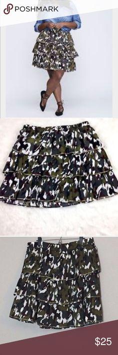 Lane Bryant Womens Camo Tiered Skirt w Gold Trim Lane Bryant Sz 14 16 Womens Camo Tiered Skirt w Gold Trim Career Casual NWT Lane Bryant Skirts Mini