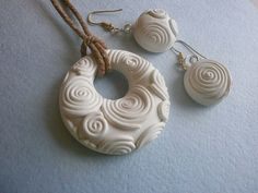 Nice polymer clay pendant and earrings/white jewelry