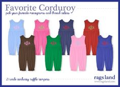 Shop our 21 Wale Favorite Corduroy Collection - Rags Land Corduroy Ruffle Rompers! Shop NOW at www.ragsland.com