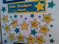 star student of the week Hollywood Bulletin Boards, Preschool Ideas, Preschool Crafts, Student Of The Month, Star Of The Week, Star Students, Preschool Graduation, Stars Craft, Class Decoration
