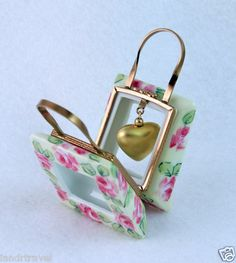 LIMOGES BOX BAG W/ GOLD HEART & PAINTED ROSES