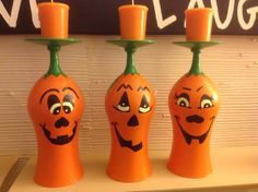 Painted glasses from goodwill into pumpkins and made them into candle holders!!