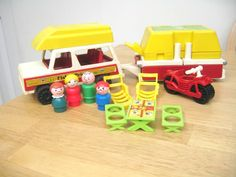Fisher Price Pop Up Camper...I likey! The lil people I had were wood. I loved playing with them.