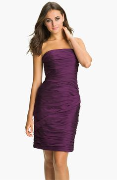 ML Monique Lhuillier Bridesmaids Strapless Ruched Chiffon Dress (Nordstrom Exclusive) available at Purple Dress Bridesmaid Duties, Bridesmaid Dresses Online, Bridesmaid Outfit, Monique Lhuillier Bridesmaids, Chiffon Evening Dresses, One Piece Dress, Nordstrom Dresses, Purple Dress, Just In Case