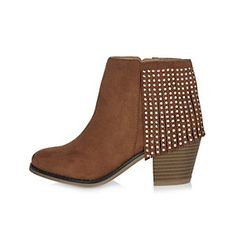 Girls brown fringed Western boots