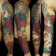 With Roses Skull Sleeve Tattoo - http://99tattooideas.com/roses-skull-sleeve-tattoo/ #tattoo #tattoos #ink