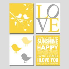 Kids Wall Art - Nursery Quad - Set of Four 8x10 Prints - You Are My Sunshine, LOVE, Baby Birds on a Branch, Baby Chicks. $65.00, via Etsy.